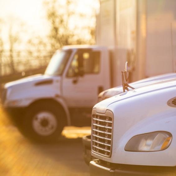box trucks in a parking lot