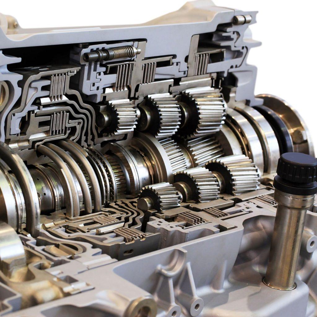 A gearbox cut in half